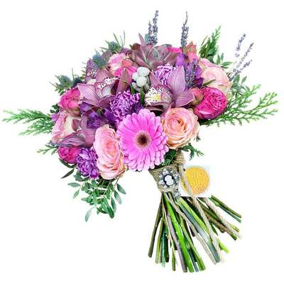 Букет из роз, орхидей, гербер