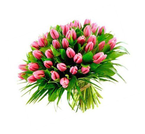 45 розовых тюльпанов
