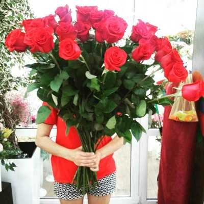 Высокие красные розы